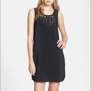 Joie 'Gayla' Black 100% Silk Slip Dress w/ Lace